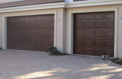 Metal Garage Door Faux Wood Grain
