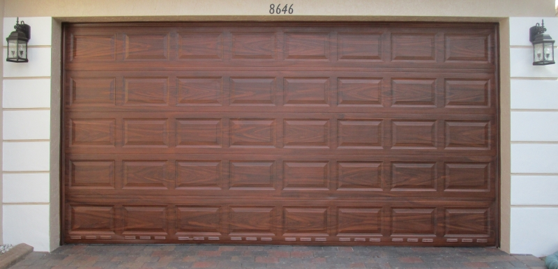Faux Wood Grain Garage Metal Door